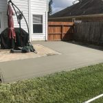 shaped concrete patio